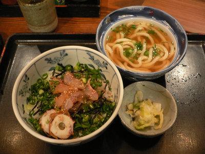 鯛丼とうどんのセット@かおりひめ(新橋)
