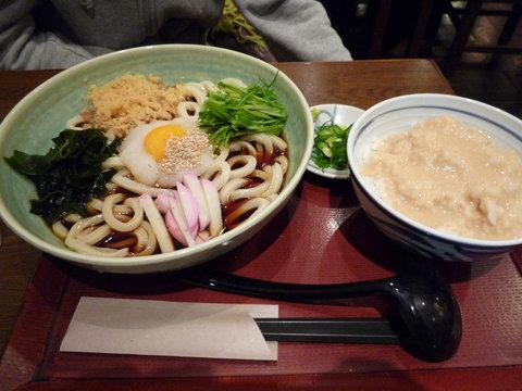 香露うどん+麦とろごはん(小)@夢吟坊 渋谷マークシティ店(渋谷)