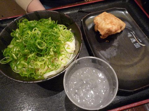 めんたい醤油うどん(小)+かしわ天@東京麺通団(新宿)