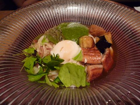 鰻と賀茂茄子のおうどん+うめ@つるとんたん BIS TOKYO(東京)