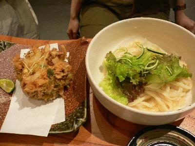 瀬戸内穴子と水菜のかき揚げうどん@じゃぶかま 渋谷店(渋谷)